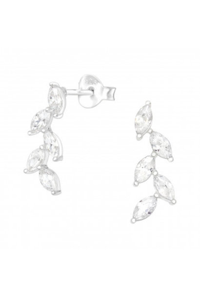 Silver cuff earrings olive leaf with zirconia stones