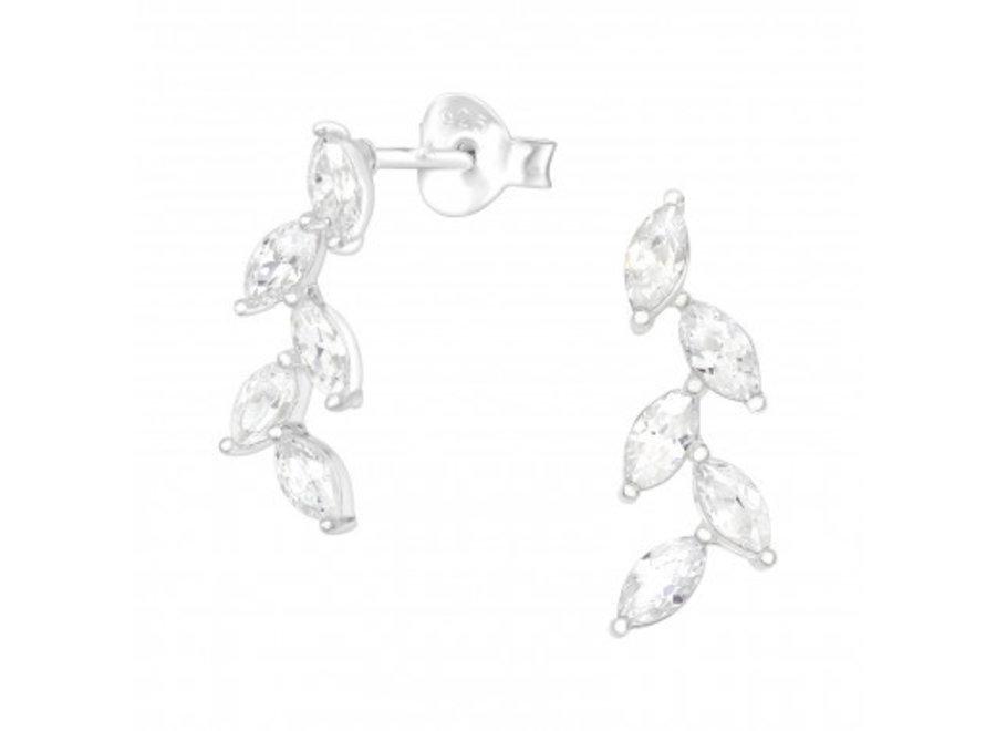 Zilveren manchet oorstekers olijfblad met zirkonia steentjes