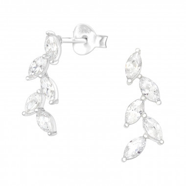 Silver cuff earrings olive leaf with zirconia stones-1
