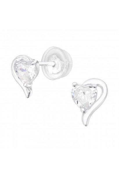 Zilveren hart oortstekers met zirkonia steentjes