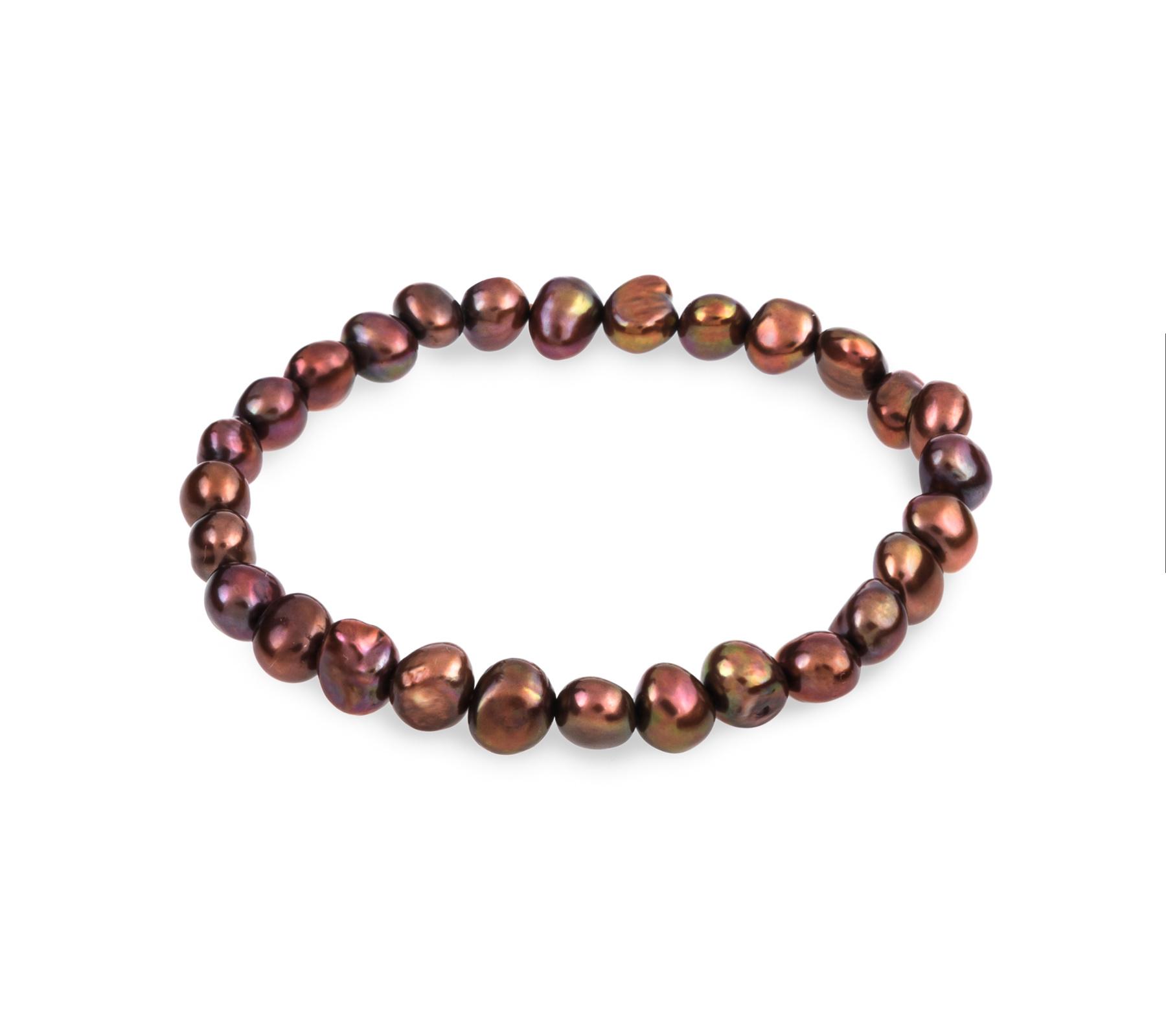 Freshwater pearl bracelet brown-1