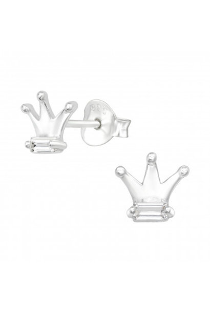Silver crown earrings with zirconia stones
