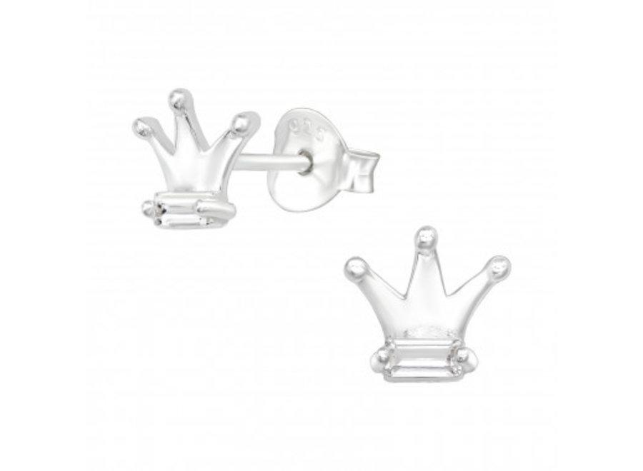 Zilveren kroon oorstekers met zirkonia steentjes