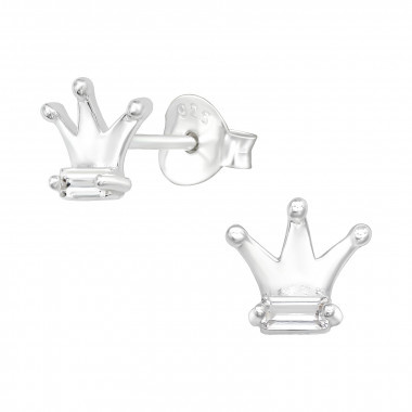 Zilveren kroon oorstekers met zirkonia steentjes-1