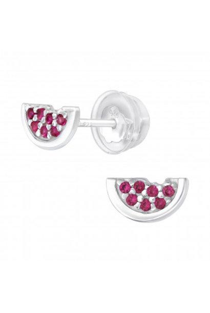 Zilveren watermeloen oorstekers met zirkonia steentjes