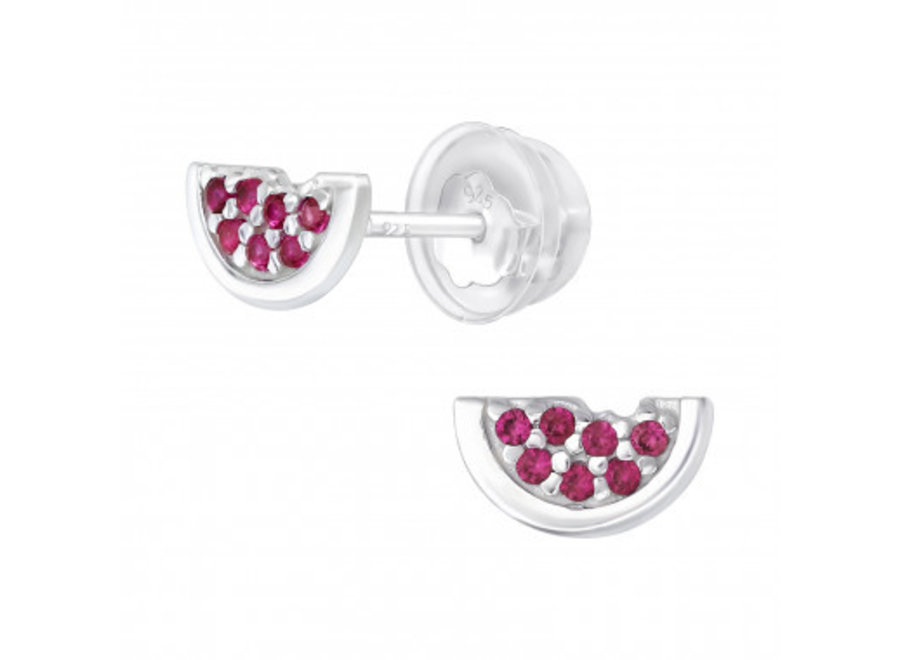 Silver watermelon earrings with zirconia stones