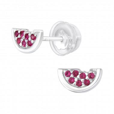 Zilveren watermeloen oorstekers met zirkonia steentjes-1
