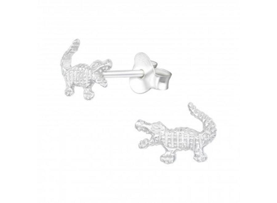 Silver earrings crocodile