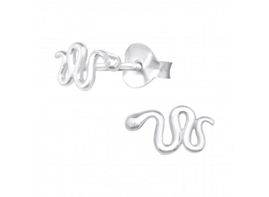 Silver earrings of a snake.