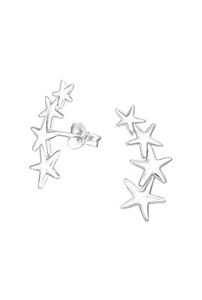 Zilveren manchet oorstekers sterren