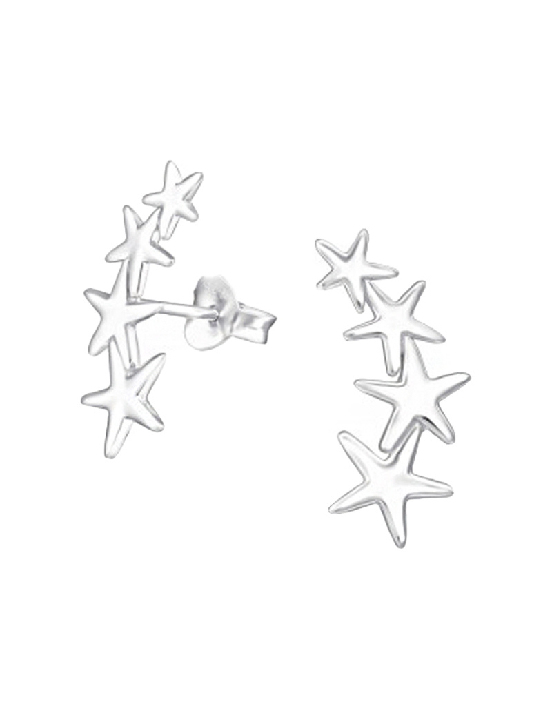 Silver ear studs stars-1