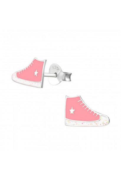 Silver ear studs sneakers