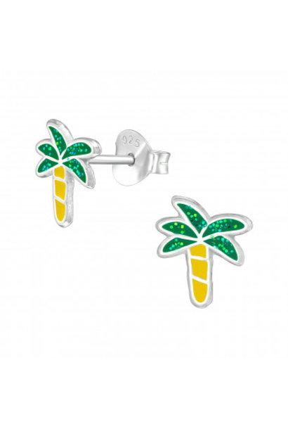 Silver earrings palm tree