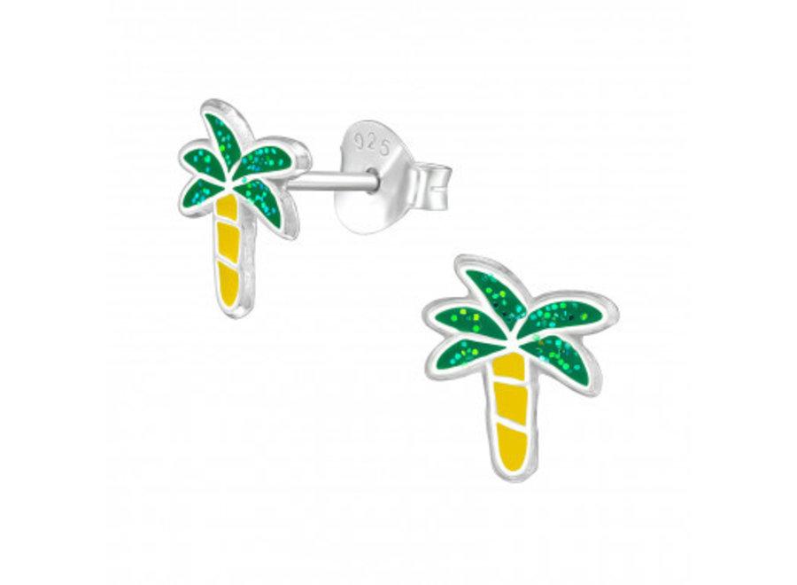 Zilveren oorstekers palmboom