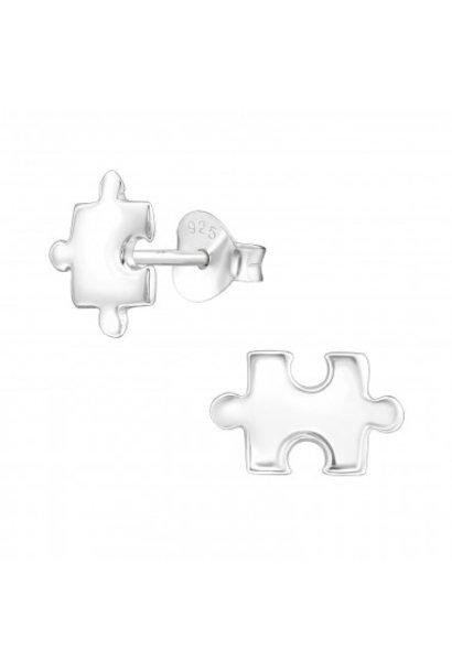 Silver ear studs puzzle piece