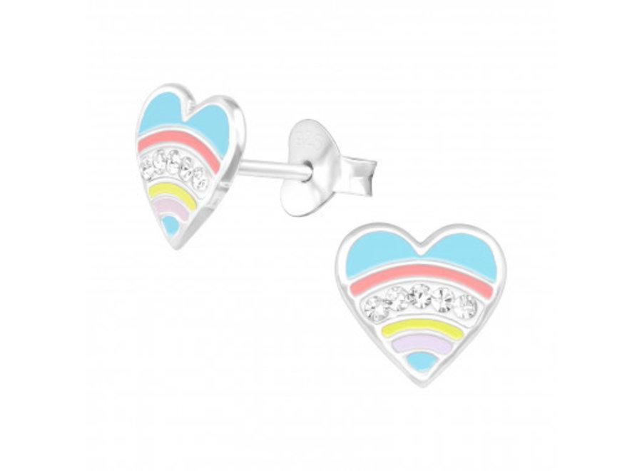 Zilveren oorstekers hart