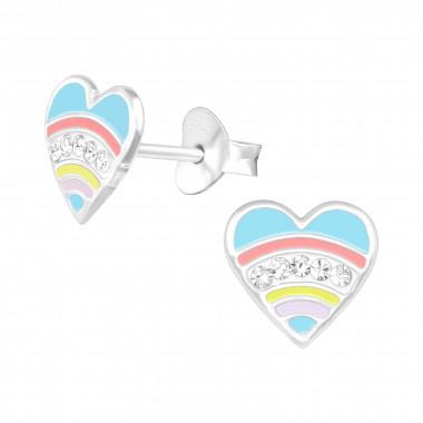 Silver ear studs heart-1