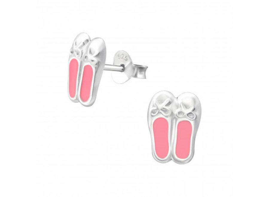 Zilveren oorstekers ballerina schoentjes