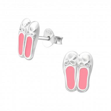 Zilveren oorstekers ballerina schoentjes-1