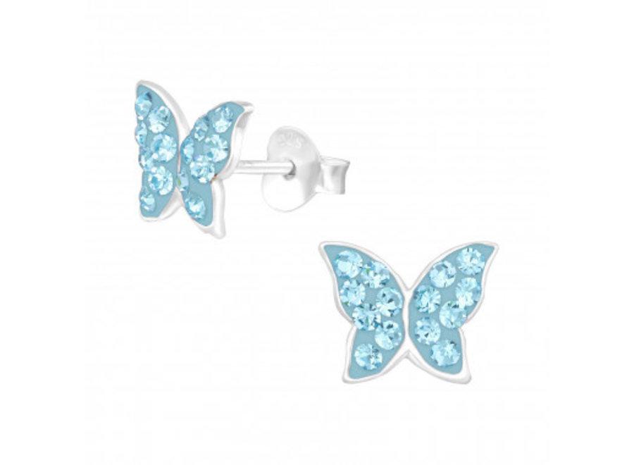 Zilveren oorstekers vlinder met kristal-steentjes