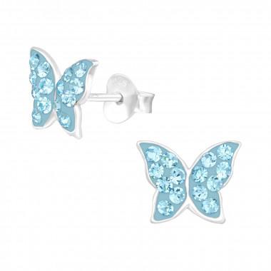 Zilveren oorstekers vlinder met kristal-steentjes-1