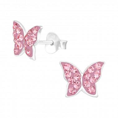 Zilveren oorstekers vlinder met kristal-steentjes-2