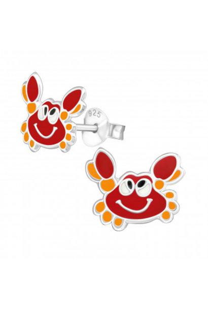 Silver ear studs crab