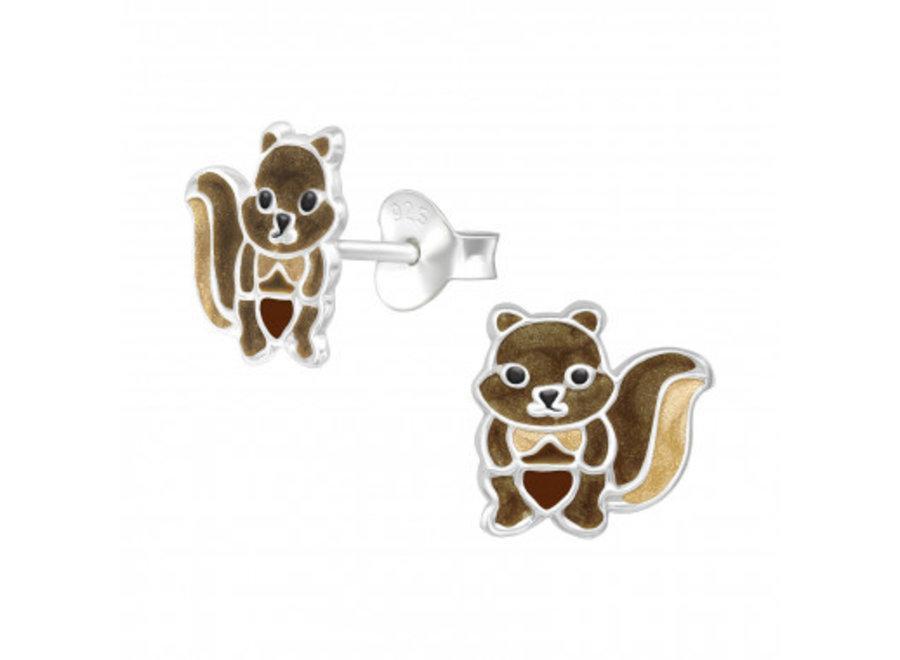 Silver ear studs squirrel
