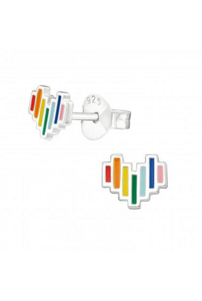 Zilveren oorstekers hart met regenboogkleuren