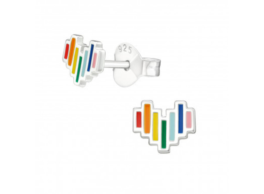 Silver ear studs heart with rainbow colors