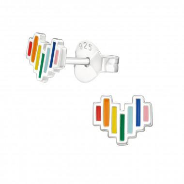 Zilveren oorstekers hart met regenboogkleuren-1