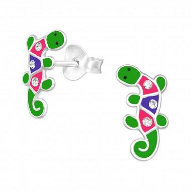 Silver earrings lizard-1