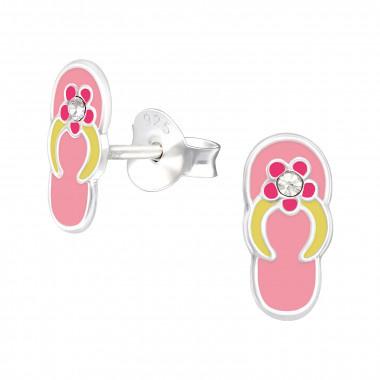 Zilveren oorstekers badslippers-1