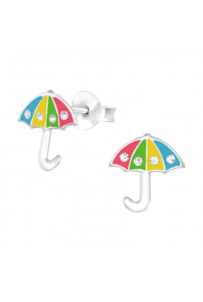 Zilveren oorstekers paraplu met kristal-steentjes