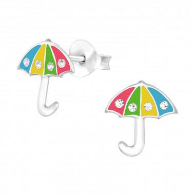 Zilveren oorstekers paraplu met kristal-steentjes-1
