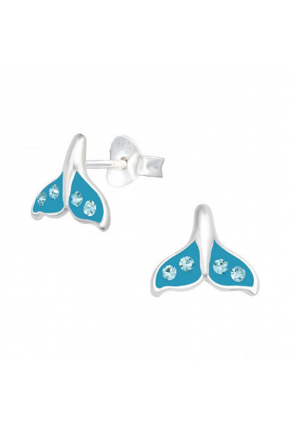 Silver whale tail earrings