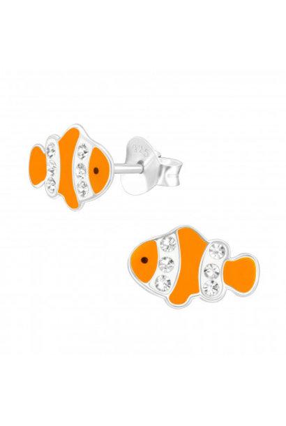 Zilveren oorstekers clownvisje met kristal-steentjes