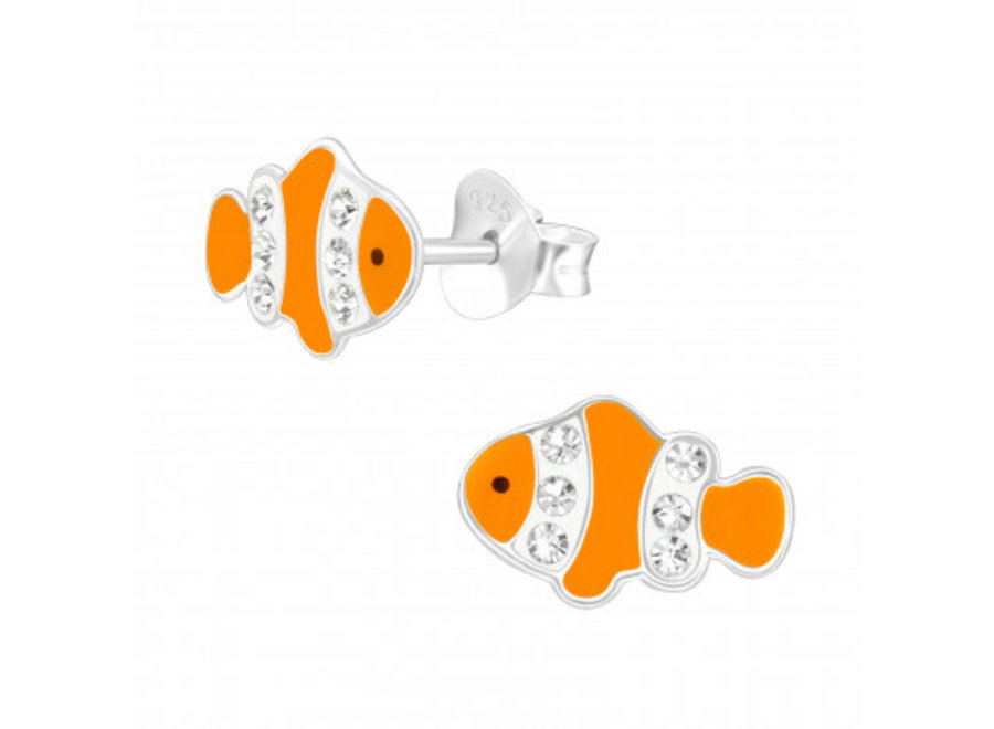 Silver clownfish earrings with crystal stones