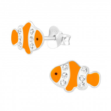 Silver clownfish earrings with crystal stones-1