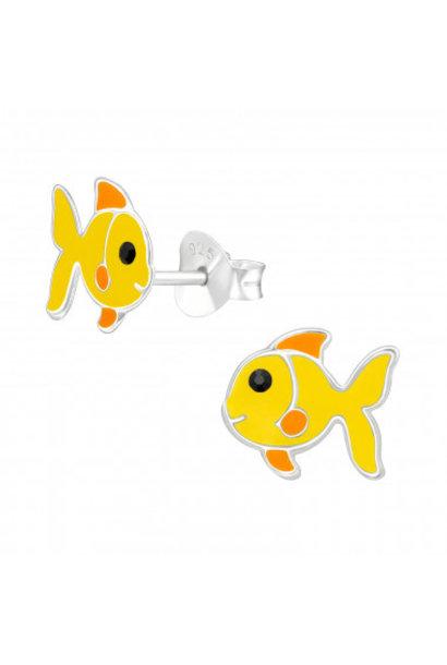Silver ear studs yellow fish