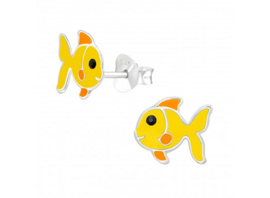 Zilveren oorstekers geel visje