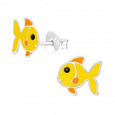 Silver ear studs yellow fish-1