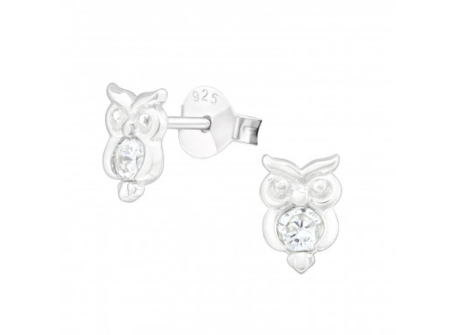 Silver ear studs owl with zirconia stones