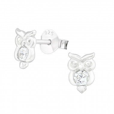 Silver ear studs owl with zirconia stones-1