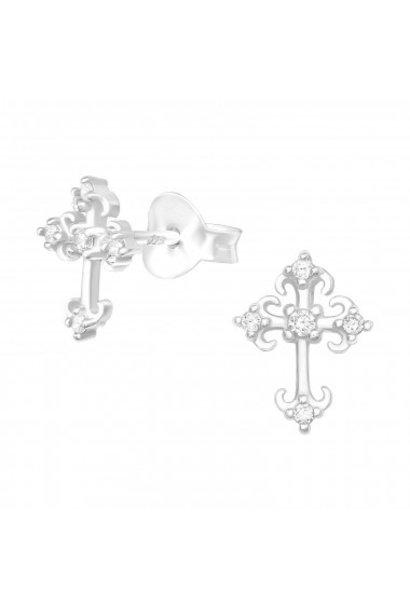 Silver earrings cross with zirconia stones