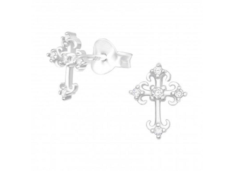 Zilveren oorstekers kruis met zirkonia-steentjes