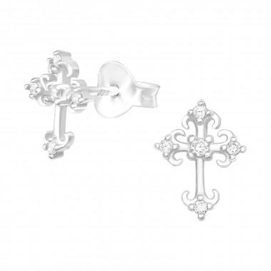 Zilveren oorstekers kruis met zirkonia-steentjes-1