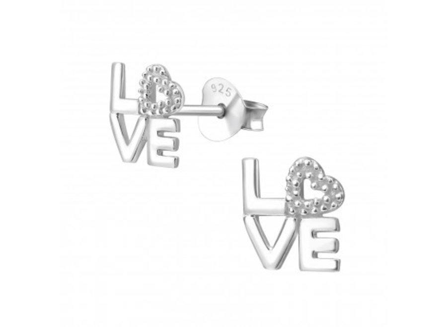 Silver earrings love