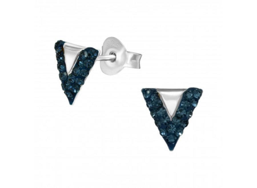 Zilveren oorstekers driehoek met kristal-steentjes
