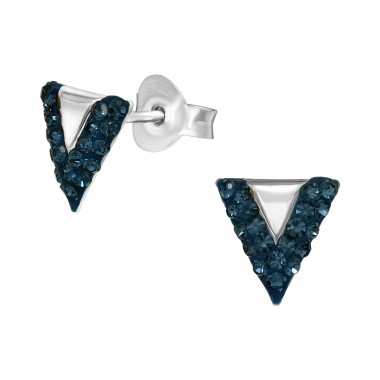 Silver earrings triangle with crystal stones-1
